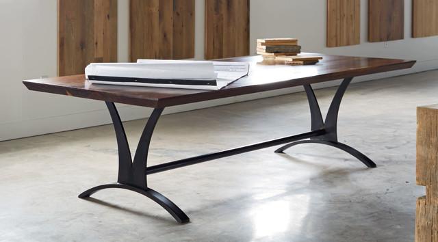 Walnut slab and custom steel base table modern-dining-room