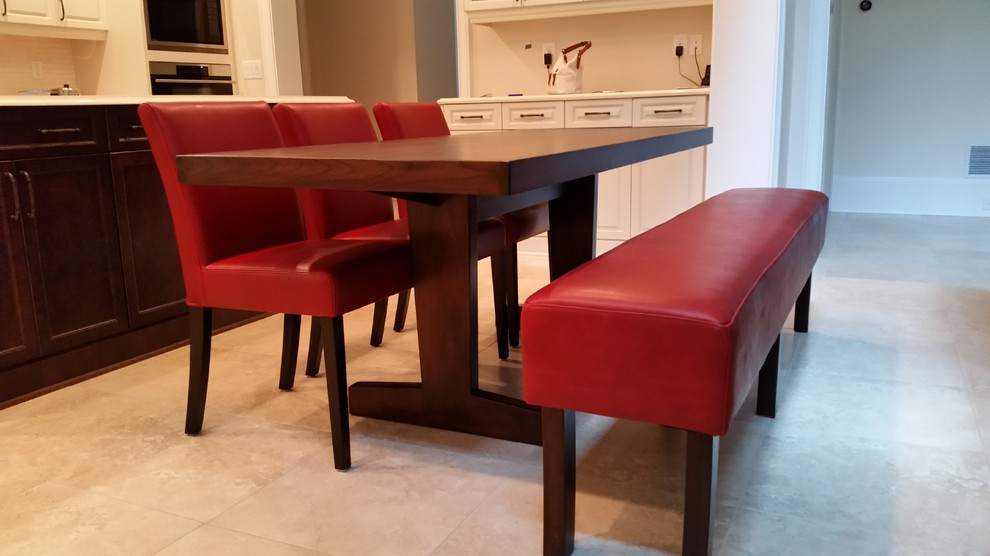 Walnut Table And Red Leather Bench With, Dining Room Table With Leather Bench