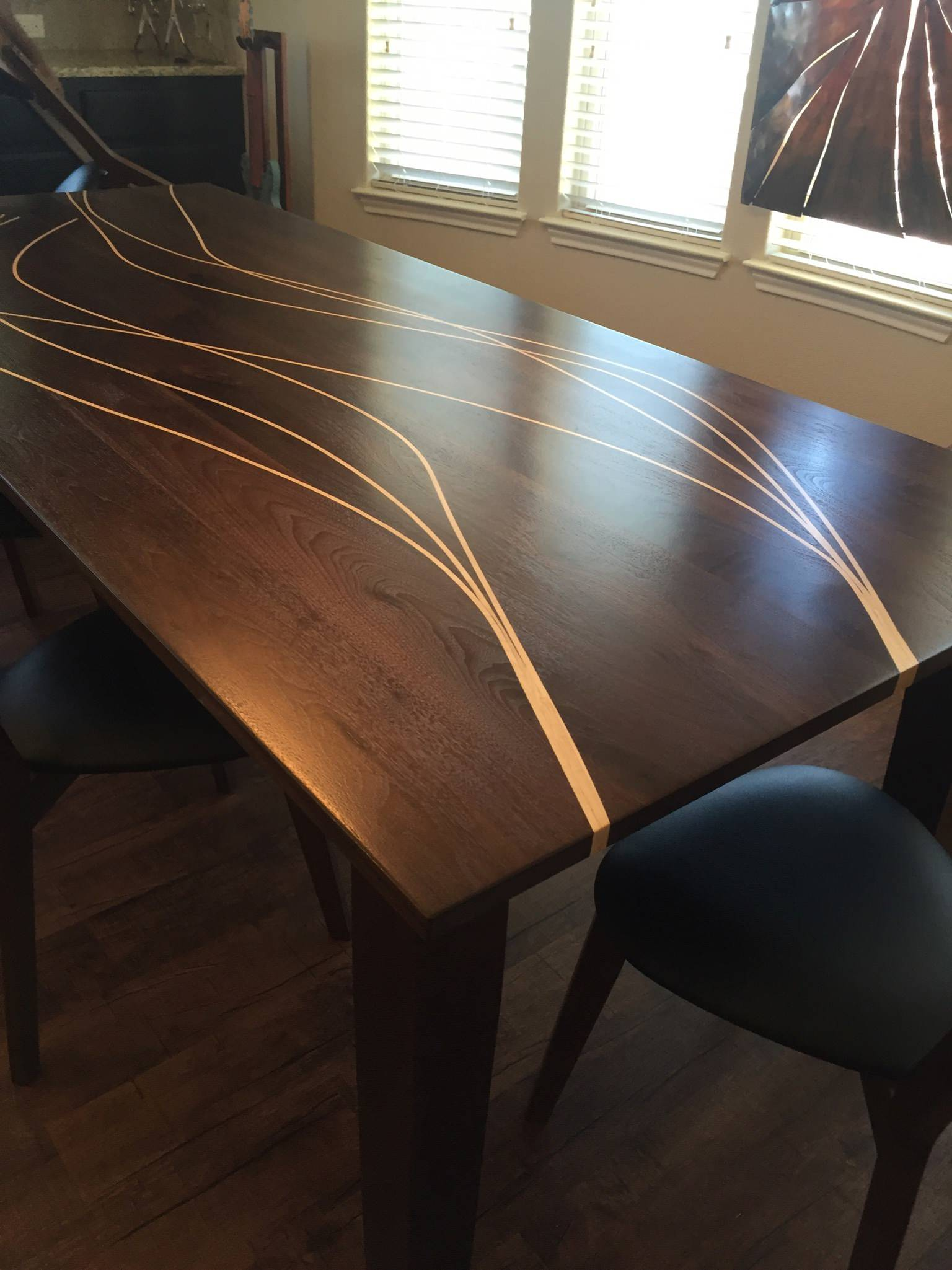 Walnut Table with Maple Inlay