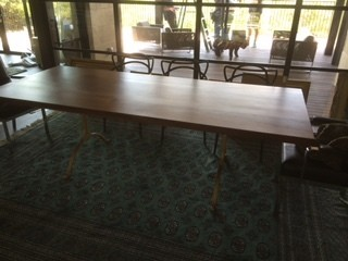 Walnut Table with Metal Legs