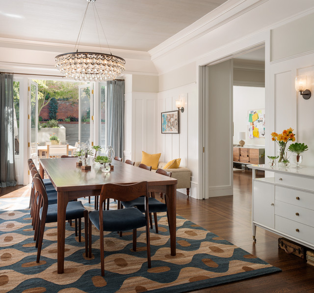 10 tips for getting a dining room rug just right Rug on Carpet Dining Room