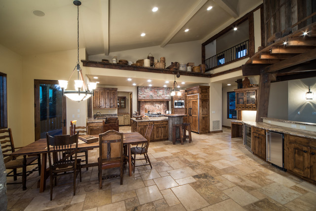 Water tower inspired home kitchen view from living room for Western dining room ideas
