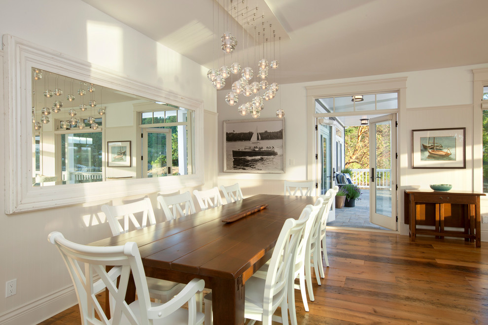 Dining room - traditional dark wood floor dining room idea in Vancouver with white walls