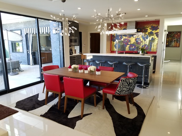 Kitchen/dining room combo - large modern kitchen/dining room combo idea in Hawaii with white walls and no fireplace