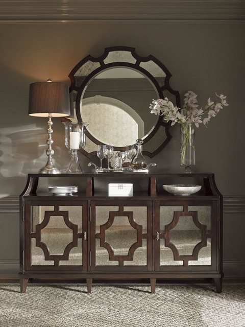 Wellshire Mirrored Buffet With Felt Lined Silverware Storage Drawers Transitional Dining Room