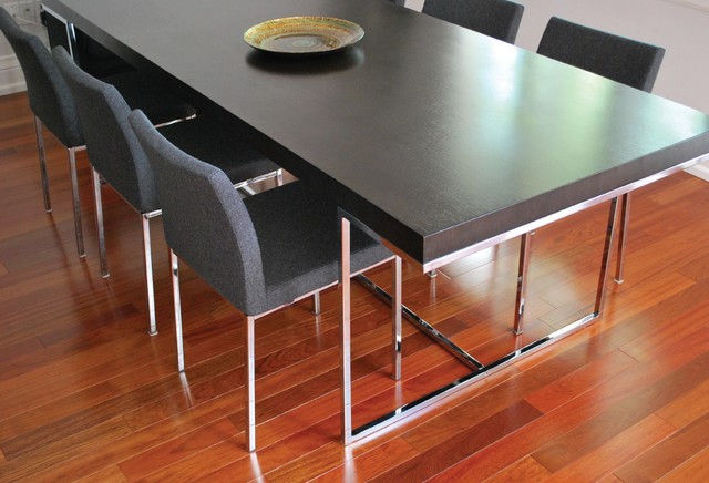 Wenge Oak Madrid Table Grey Aria Chrome Dining Chair Contemporary Room