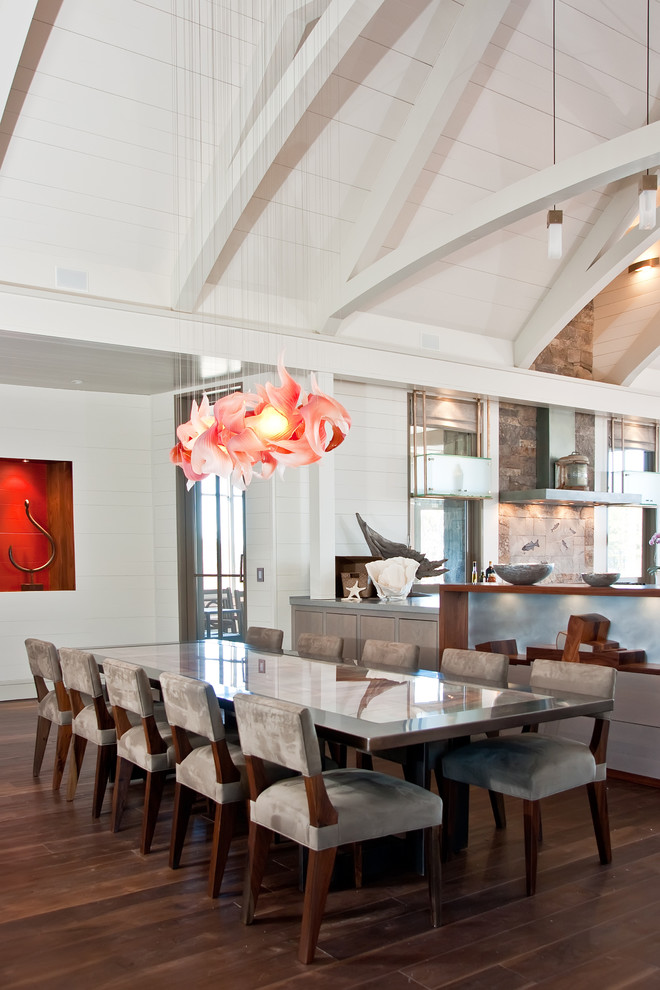 Large trendy dark wood floor and brown floor kitchen/dining room combo photo in Boston with white walls and no fireplace