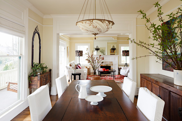 Ornate dark wood floor dining room photo in Portland with beige walls. Dark Dining Table   Houzz