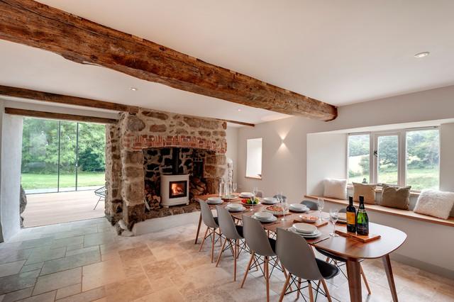 Superb Flooring: Cleft Slate. Farmhouse Dining Room By Van Ellen + Sheryn  Architects