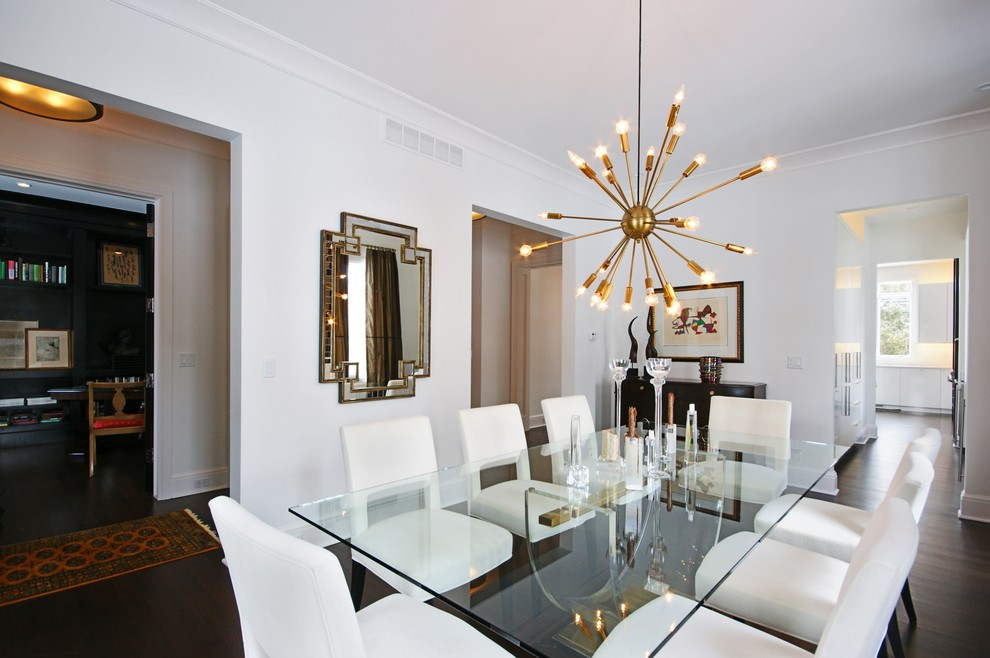 Dining room - contemporary dark wood floor dining room idea in Detroit with white walls