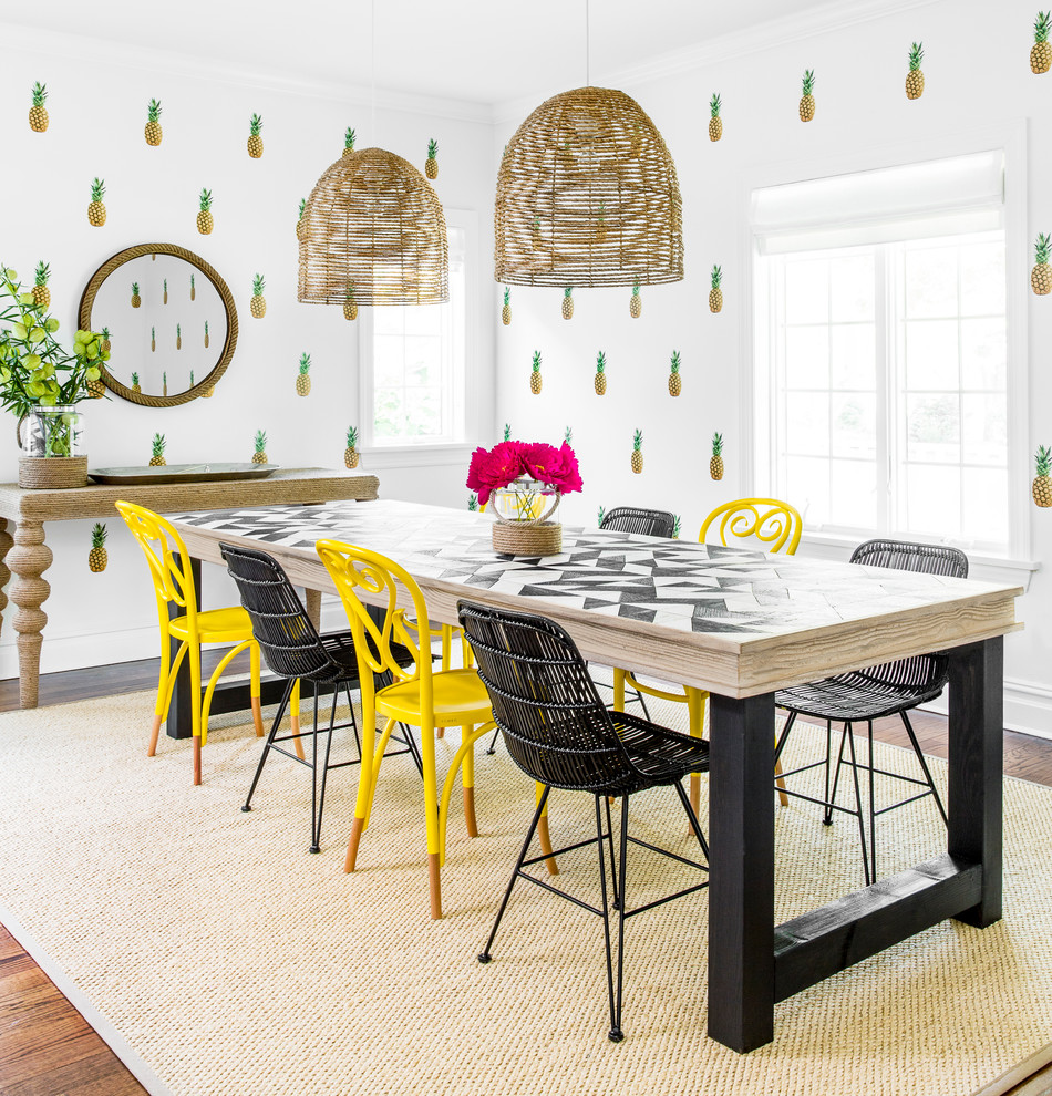 Mid-sized trendy dark wood floor enclosed dining room photo in New York with white walls