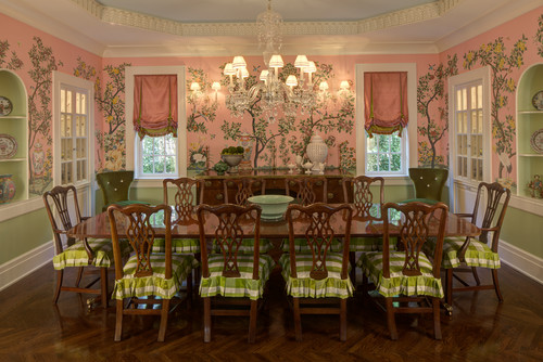 Dining Room by Chagrin Falls Design-Build Firms W Design Interiors - pink and green dining room