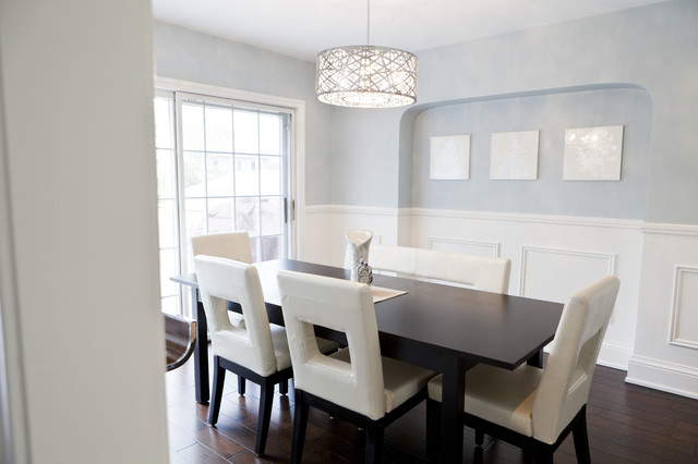 Whimsical dining room contemporary dining room for Dining room wainscoting