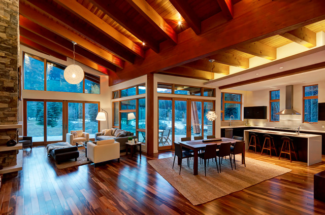 Whistler mountain modern modern dining room for Modern mountain home interior design