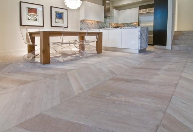 White Hardwood Floors - Modern - Dining Room - San Diego ...