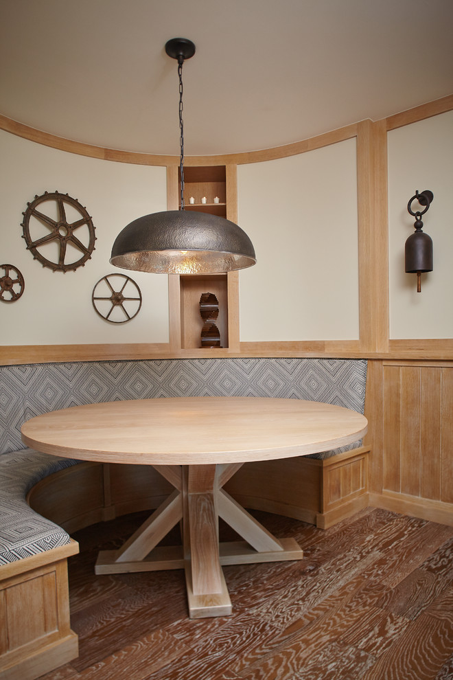 Beach style dark wood floor dining room photo in Grand Rapids with white walls