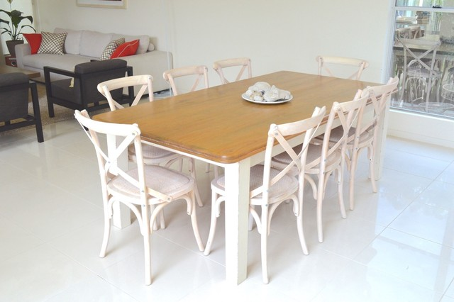 White Wash Cross Back Chairs And Country Style Table Shabby Chic Style  Dining