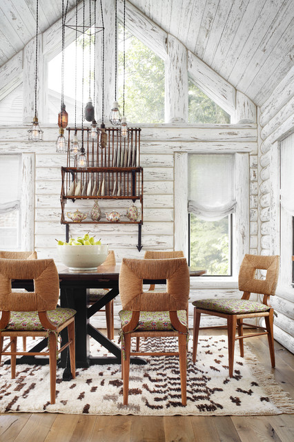 Whitewashed Lake Cabin Rustic Dining Room