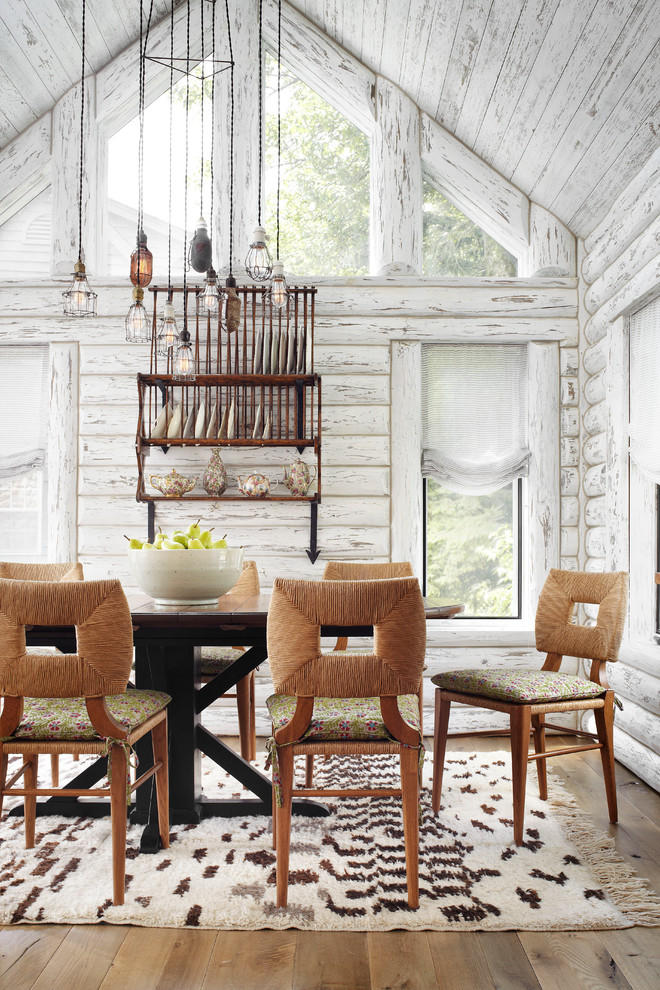 Inspiration for a rustic dark wood floor dining room remodel in Milwaukee