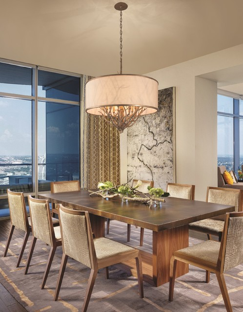 Whitman pendant above dining table transitional for Dining room tables los angeles