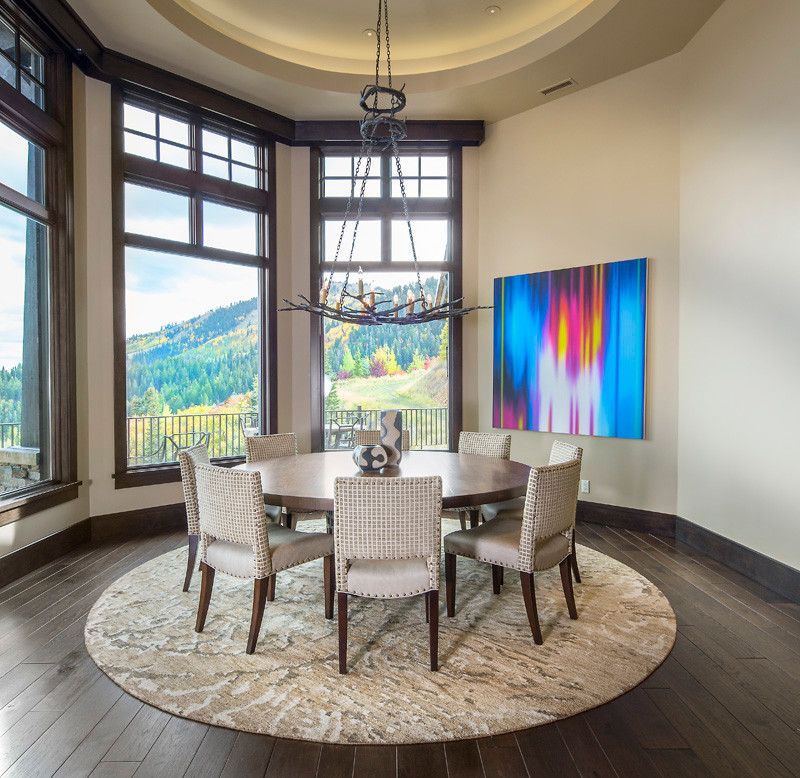Inspiration for a huge modern dark wood floor kitchen/dining room combo remodel in Salt Lake City with gray walls