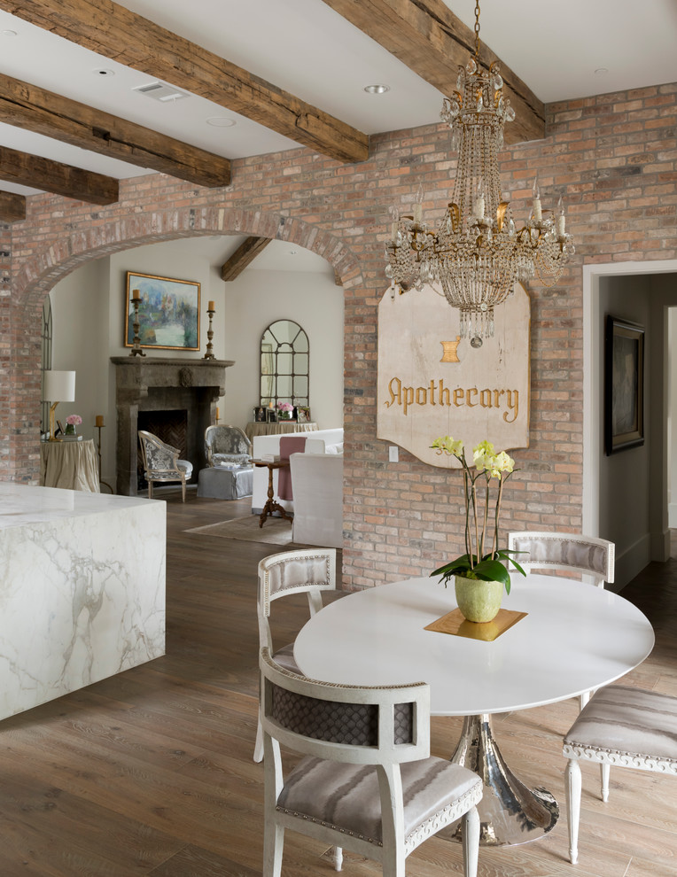 Example of a mid-sized french country dark wood floor and beige floor kitchen/dining room combo design in Houston with beige walls and no fireplace