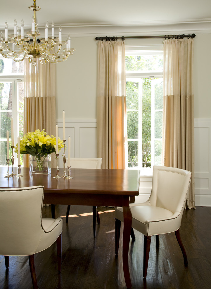 Dining room - traditional dark wood floor dining room idea in Los Angeles with beige walls