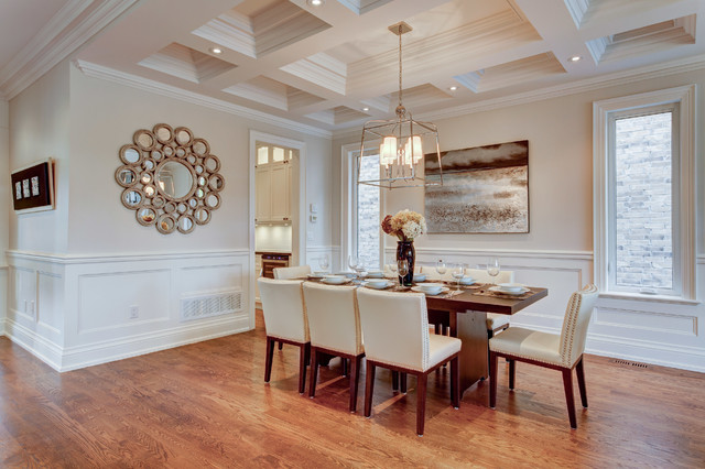 Mid-sized transitional dark wood floor dining room photo in Toronto with gray walls and no fireplace