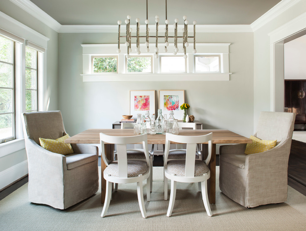 Inspiration for a mid-sized transitional dark wood floor enclosed dining room remodel in Atlanta with beige walls