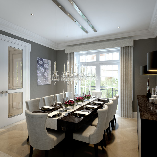 Transitional light wood floor and beige floor enclosed dining room idea in  London with gray walls