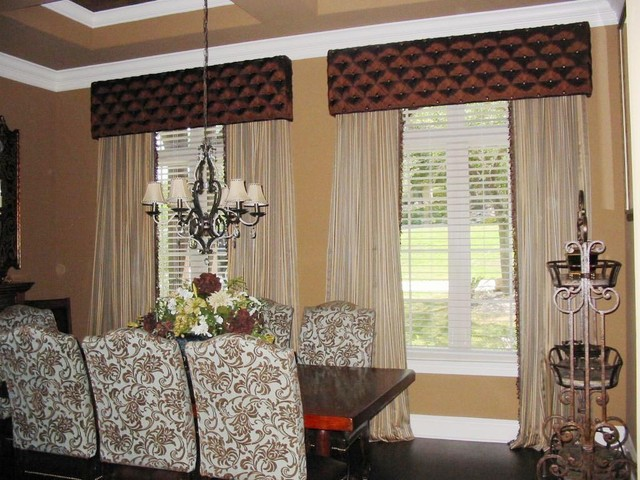 window treatments traditional dining room austin