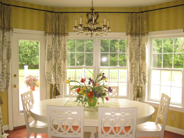 Window treatments from our custom workroom traditional-dining-room