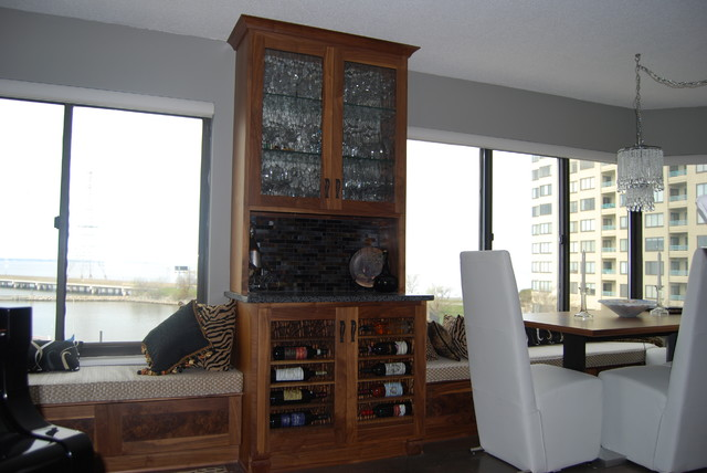 S Fe Custom Dining Room Cabinet: Wine Bar And Banquette Seating