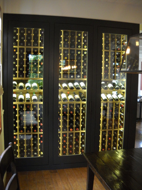 wine cabinet display led lighting traditional dining room - Led Lights For Dining Room