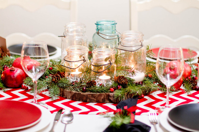 Winter Tablescape eclectic-dining-room