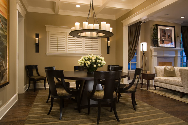 Dining Room   Traditional Dark Wood Floor And Brown Floor Dining Room Idea  In Chicago With