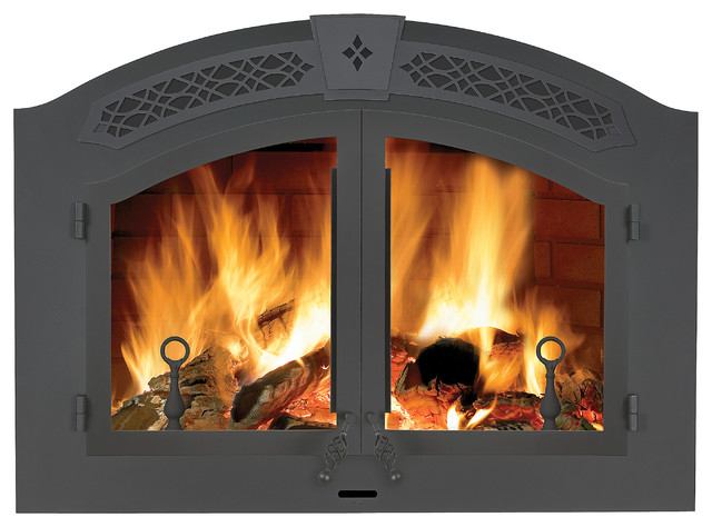 Wood Burning Large Fireplace Napoleon 39 S Nz6000 High Country Rustic Dining Room Other Metro