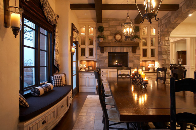Wood Lake Side Luxury Traditional Dining Room