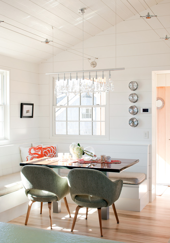 Kitchen/dining room combo - small coastal light wood floor kitchen/dining room combo idea in Boston with white walls