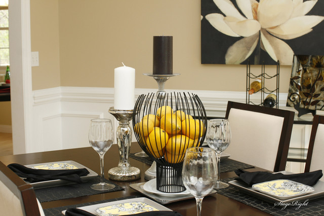 Yellow is the new black traditional dining room for Yellow dining room ideas