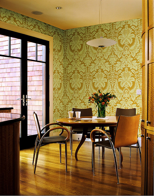 Yellow wallpaper contemporary dining room other for Houzz dining rooms contemporary