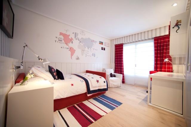Dise o interior de dormitorio infantil en blanco rojo y for Diseno de dormitorio blanco