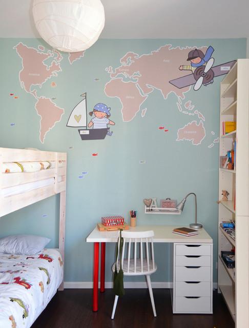 Vinilos mapamundi en habitaciones infantiles - Habitaciones infantiles barcelona ...