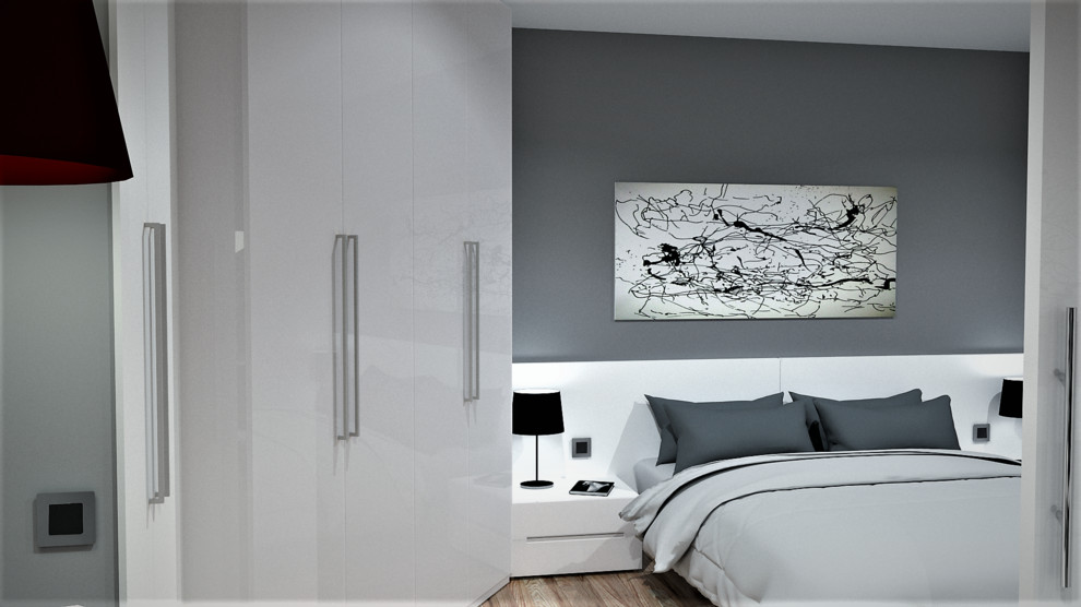 Example of a mid-sized minimalist master light wood floor bedroom design in Other with gray walls