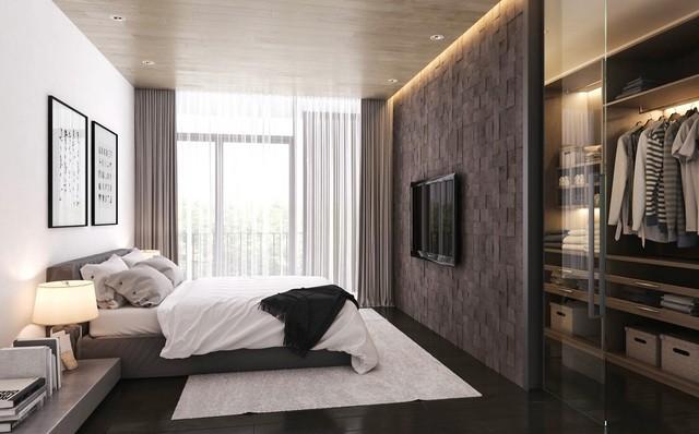 Ejemplo de dormitorio principal, actual, grande, con paredes multicolor