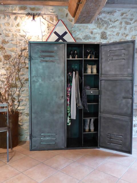 Armoire métal années 50 industriel vintage dressing penderie ...