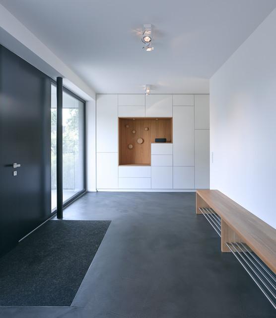 Neubau Eines Einfamilienhaus Mit Dunklem Klinker Modern Entry
