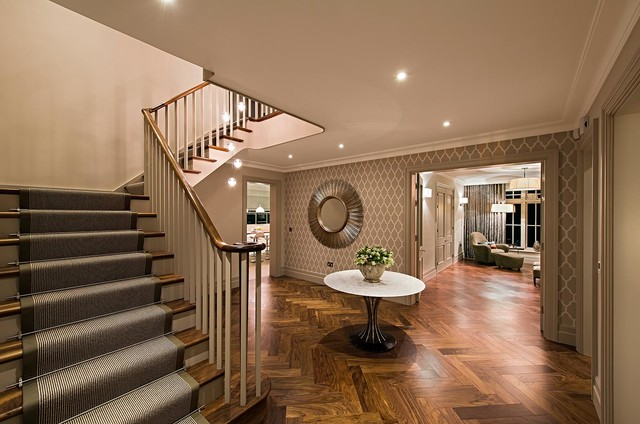 Beautiful Entrance Hall With Centre Table And Carpet Runner Contemporary  Entry