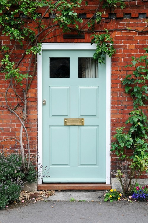 Mint Bue Front Door-Mission Stone Tile