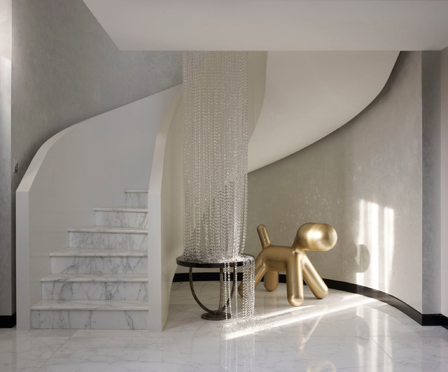 Mayfair Penthouse Sculptural Marble Staircase Contemporary Entry London By Oliver Burns
